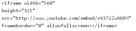 стандартный код YouTube